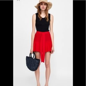 Zara Red belted skort XS NWT